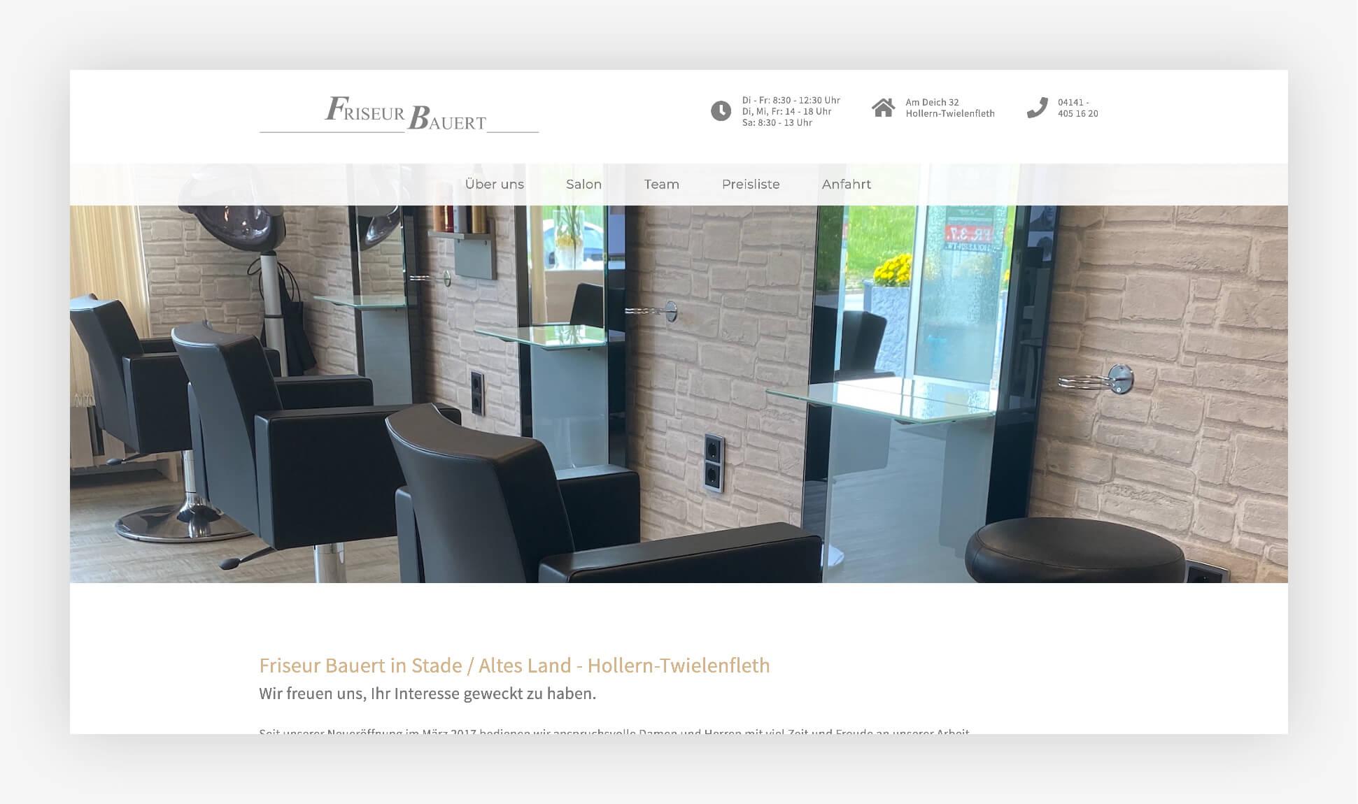 Webdesign Website Friseur Bauert Altes Land