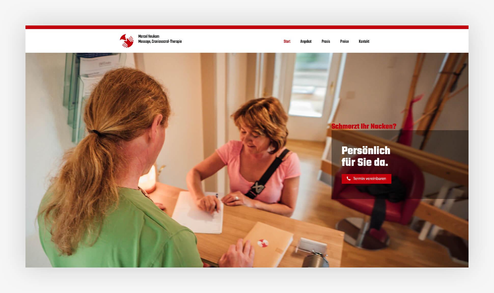 Webdesign Website Marcel Neukom Massage Schweiz